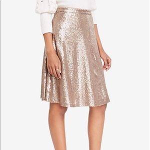 NWT Rose Gold Sequin Midi Skirt Ann Taylor